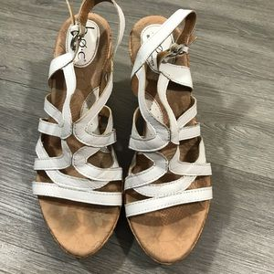 BOC Nilsa Cork Wedge White Leather Sandals